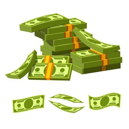 紙のお金は、乱雑なヒープ内の黄色のゴム製バンド嘘と結ばれます。杭と個別の例で収集した価値の高い緑の紙幣は、白い背景の上の漫画フラット