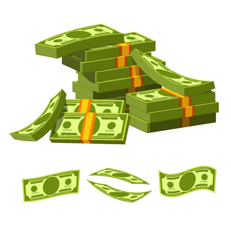 Paper money tied with yellow rubber bands lie in messy heap. Green banknotes of high value collected in piles and separate examples isolated cartoon flat vector illustration on white background.