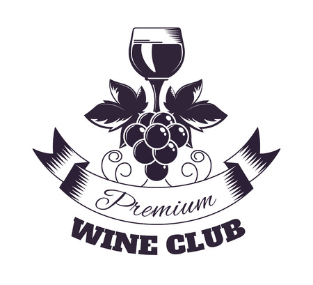 Premium wine club isolated monochrome emblem with full shiny glass, grapes bunch and ribbon with sign flat vector illustration on white background. Community of exquisite alcohol drink admires. Ilustração