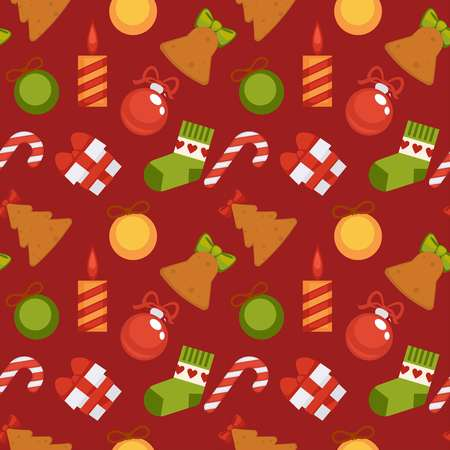 Gift box, sweet striped cane, Christmas candle, decorative balls, knitted sock and cookies in shape of spruce and bell cartoon flat vector illustration in seamless pattern on maroon background.