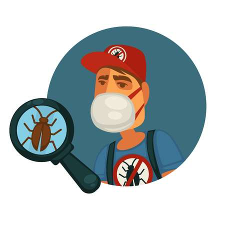Man in protective facial mask, special uniform and red cap who exterminates pests and disgusting small cockroach under big magnifier isolated cartoon flat vector illustration on white background. Illustration