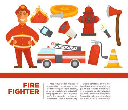 Fire fighter with work equipment on promotional poster. Car with water hose, sharp axe, fire extinguisher, simple loud speaker and bright flame isolated cartoon flat vector illustrations set.