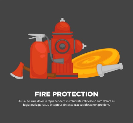 Fire protection promotional poster with special equipment set. Sharp axe, red fire extinguisher, metal street hydrant and long hose with nozzle cartoon flat vector illustrations on grey background.