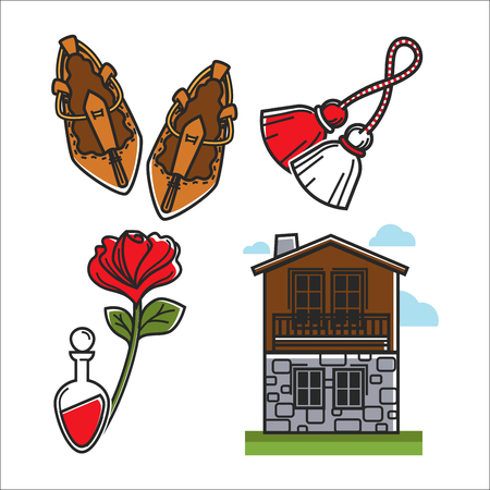 Symbolic items that have cultural value isolated cartoon flat vector illustrations set on white background. Wicker shoes, tassels on rope, red rose, glass flask and two-storey house of stone and wood. Illustration