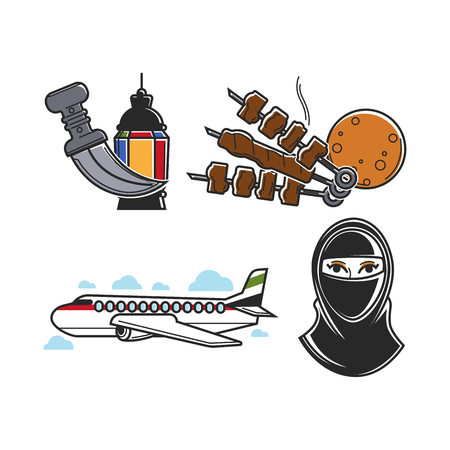 United Arab Emirates traditional national symbols isolated cartoon flat vector illustrations set. Bright lantern, sharp knife, meat on skewer, soft pita bread, large airplane and woman in hijab.