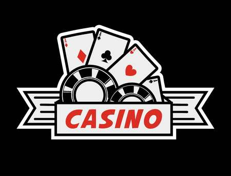 Casino poker logo template. Vector gambling cards and chips isolated icon for online bet and internet casino game Ilustracja