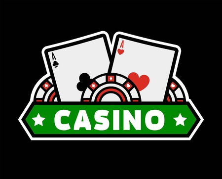 Casino poker logo template for online bet gambling and internet casino game. Vector isolated flat symbol of gambling cards and chips with stars
