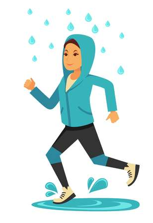 Rainy weather woman or girl jogging under rain vector flat isolated icon