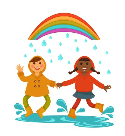 Rain weather happy chilren boy and girl friends dancing under rainbow vector flat isolated icon