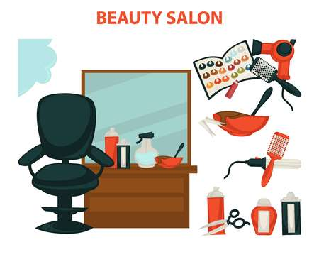 Hairdresser or hair beauty salon hairdressing equipment vector flat icons