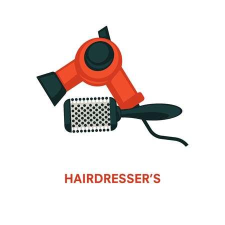 Hairdresser equipment beauty salon vector hair dryer and hairbrush comb flat icon Illustration