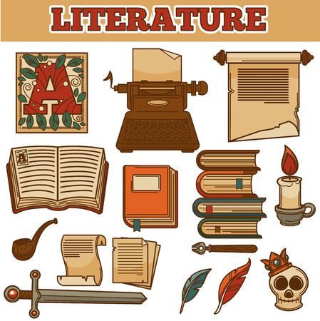 Literature books and writer icons. Vector old vintage typewriter, rare adventure or detective fiction book and more. Illustration