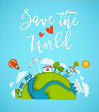 Save world planet green ecology earth and environment nature conservation concept poster. Vettoriali