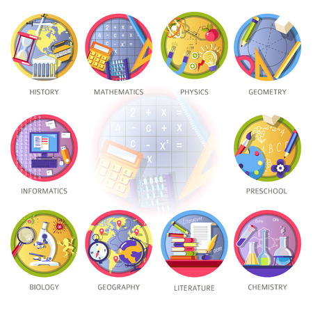 Learning and science disciplines for school or university study. Stock Illustratie