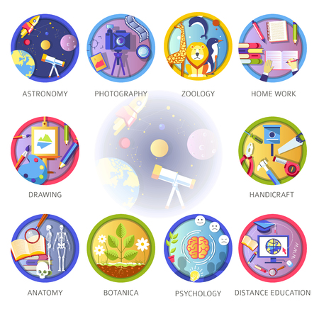 Learning and science disciplines for school or university study. Illustration