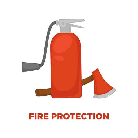 Fire protection extinguisher and fireman axe or ax icon. Vector flat isolated symbol of fire extinguisher for information or firefighting safety instruction poster design template