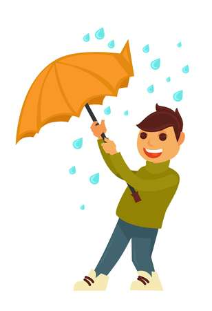 Rain weather and happy boy under umbrella against wind. Illustration