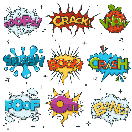 Boom, Bang and Wow sound blast speech bubbles comic cartoon icons. Pop art Crack and Oops cloud explodes, color crash, oh or splash and foof vector isolated set