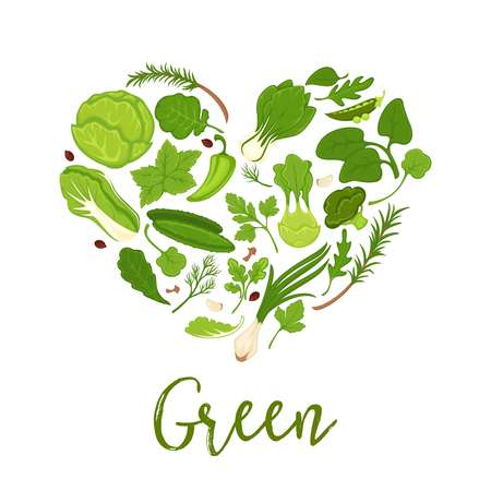 Vegetables and green lettuce salads diet heart shape vector poster Stock Vector - 91438842