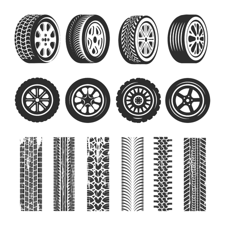 Car tires and tire track traces of tread pattern. Vector car tire different types of protector tack texture set on white background. Vettoriali