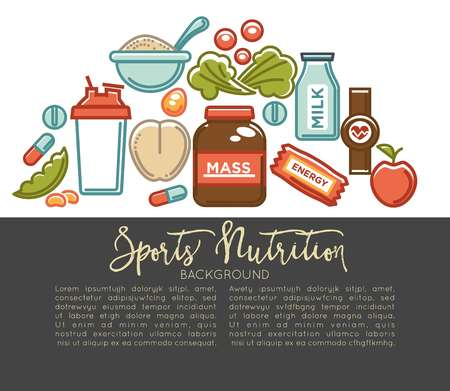 Sports nutrition and fitness gym dietary supplements poster. Vector protein shake drink in mixer, energy calorie carbohydrates bar and fat weight loss or vitamin pills Иллюстрация