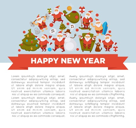 Happy New Year 2018 poster with Santa Clauses in traditional costume, sport suit and swimming trunks, snowman in hat, decorated Christmas tree, gift boxes with bow and cute dog vector illustrations.
