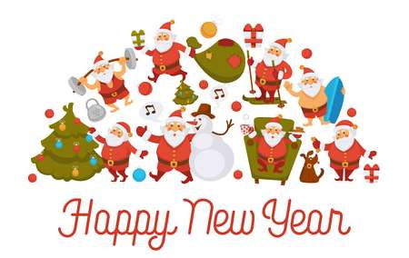 Happy New Year cartoon Santa celebrating holidays or having leisure summer fun icons for greeting card design. Vector funny Santa character decorating Xmas, skiing or surfing and sport barbell