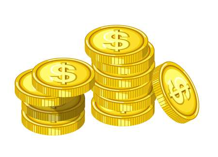 Shiny gold coins with engraved dollar signs drops from above in piles isolated cartoon flat vector illustration