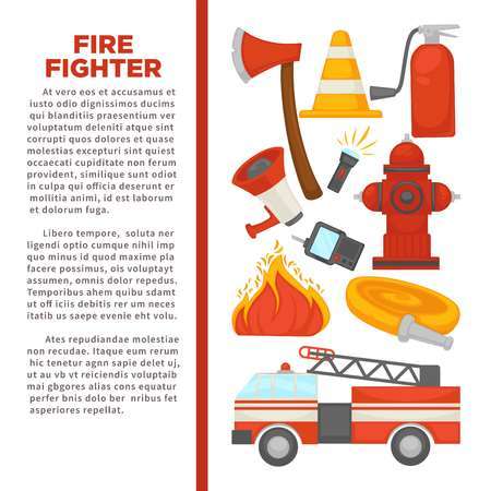 Fireman profession and fire secure protection poster of fire extinguishing equipment tools.
