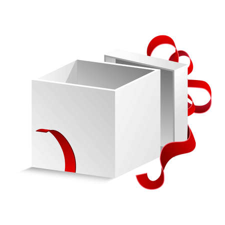 Cubic gift box with silk red ribbon and big bow isolated cartoon flat vector illustration on white background.