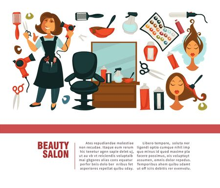 Woman hairdresser, beauty salon poster flat design for hair coloring and styling.