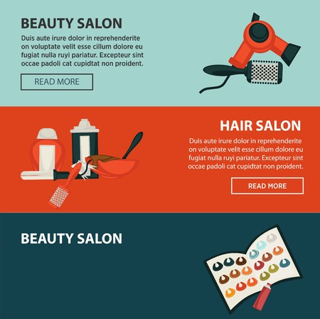 Hairdresser beauty salon web banners flat design template for hair coloring and perm styling.