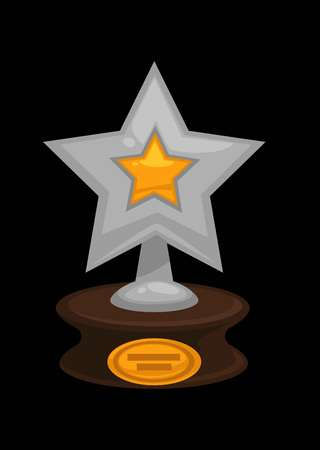 Award golden or silver star icon, vector illustration. Illustration