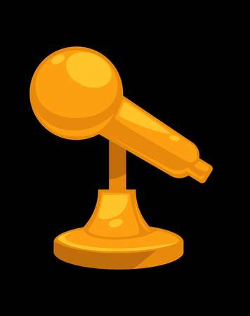 Gold shiny microphone on steady stand. Isolated cartoon flat illustration on black background. Çizim