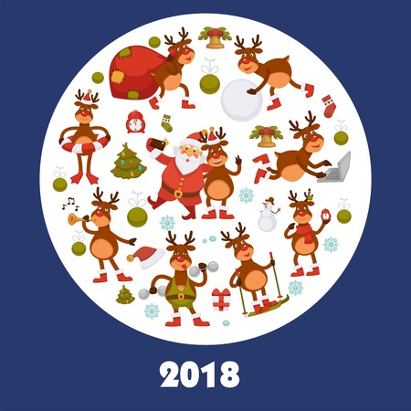 2018 poster for Christmas or New Year winter holiday. Illustration