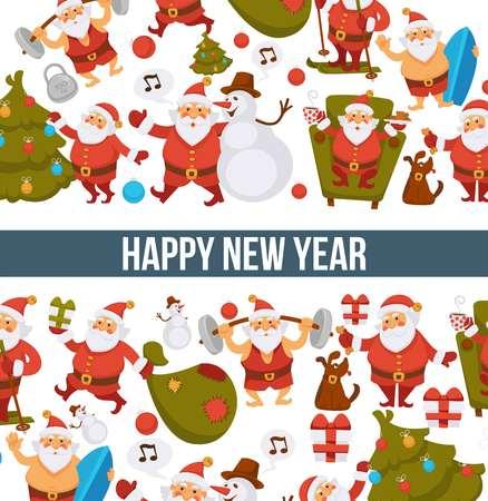 Happy New Year cartoon Santa celebrating holidays or having leisure summer fun icons for greeting card design.