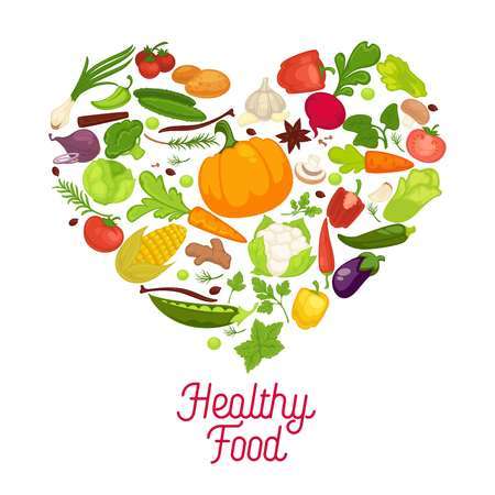 Eat healthy commercial poster with tasty vegetables inside big heart. Banner to encourage people to have proper organic nutrition. Illustration