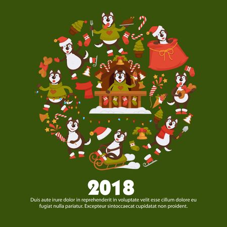 2018 Dog Year poster for Christmas or New Year winter holiday. Stock Photo