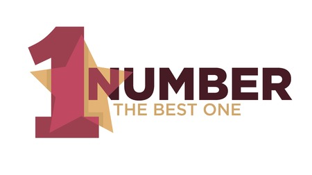 Number one emblem with stars and ribbons around big numeral isolated cartoon vector illustrations on white background. Vectores