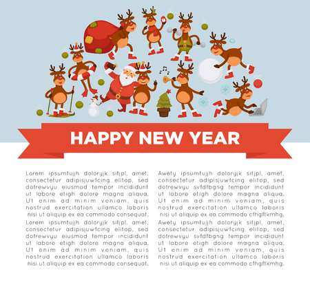 Merry Christmas and Happy New Year 2018 vector poster of deer or reindeer cartoon funny character celebrating holidays. Illustration