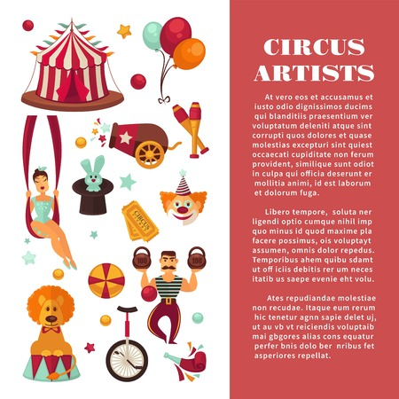 Amazing circus promo poster with participants of show and equipment. Female juggler and acrobat, male weight lifter, funny clown, rabbit in head, trained lion and striped tent vector illustrations.