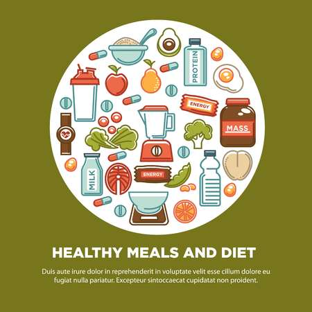 Fitness food poster of sports healthy diet food nutrition icons. Vector flat design of protein drink, natural vegetables or fruits, gym energy bar and mass or weight loss pills and dietary supplements Иллюстрация