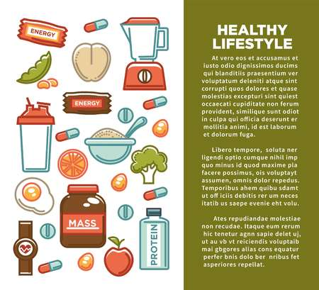 Fitness food poster of sports healthy diet food nutrition poster. Vector flat design of protein drink, natural vegetables or fruits, gym energy bar and mass or weight loss pills and dietary supplements Иллюстрация