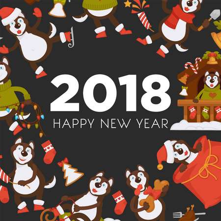 2018 Dog Year poster for Christmas or New Year winter holiday. Vector dog cartoon character in Santa hat with Xmas tree decorations celebrating with gifts bag and Christmas lights