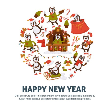 2018 Dog Year poster for Christmas or New Year winter holiday. Illustration