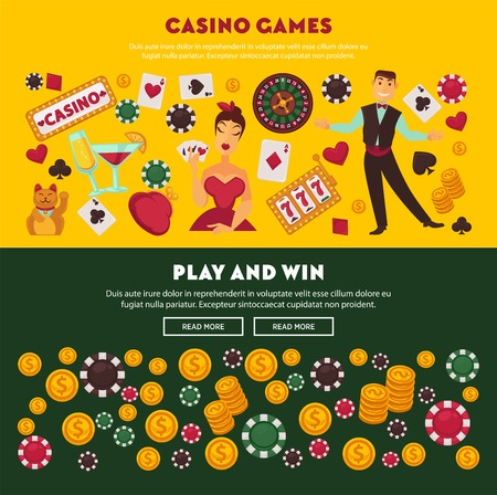 Casino games, play and win, promotional Internet posters Vectores