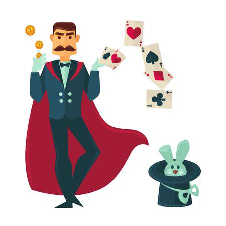 Magician in red cloak with rabbit in tall hat Illustration