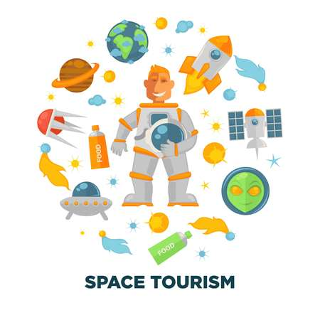 Space tourism promotional poster with spaceman and spacecrafts Illustration