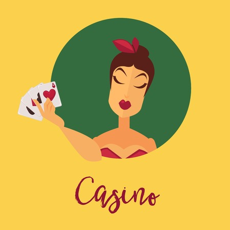 Casino promotional poster with female client with play cards vector illustration