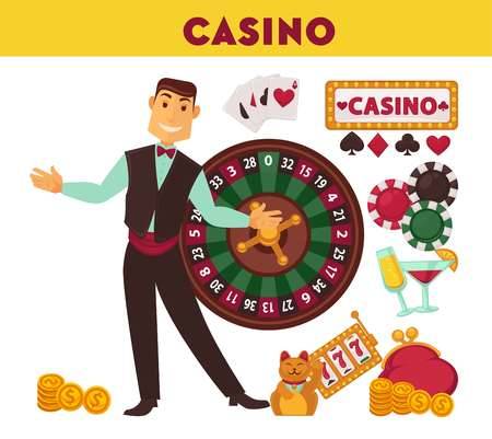 Casino worker and game equipment illustrations set vector illustration